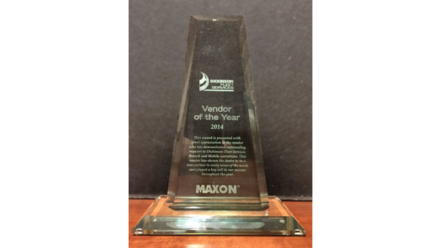Maxon Lift Corp. Receives 2014 Vendor Of The Year Award From Dickinson Fleet