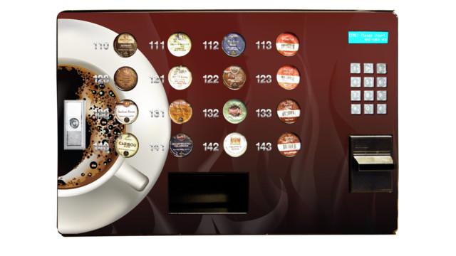 Modren Countertop Coffee Vending Machines Cup Station Front N Inside Design