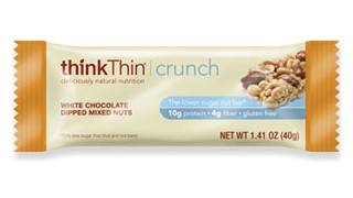 thinkThin White Chocolate Dipped Mixed Nuts Crunch Bar