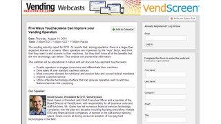 Registration Is Now Open For Vending Touchscreen Webinar, August 14