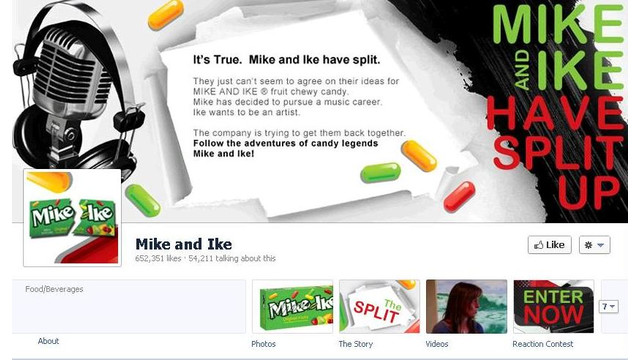 Facebook Marketing Campaign Features Split Between Just Born's Mike And Ike