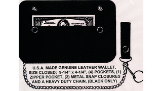 KBI 9.5x4.5-inch Black Wallet With Attached Chain